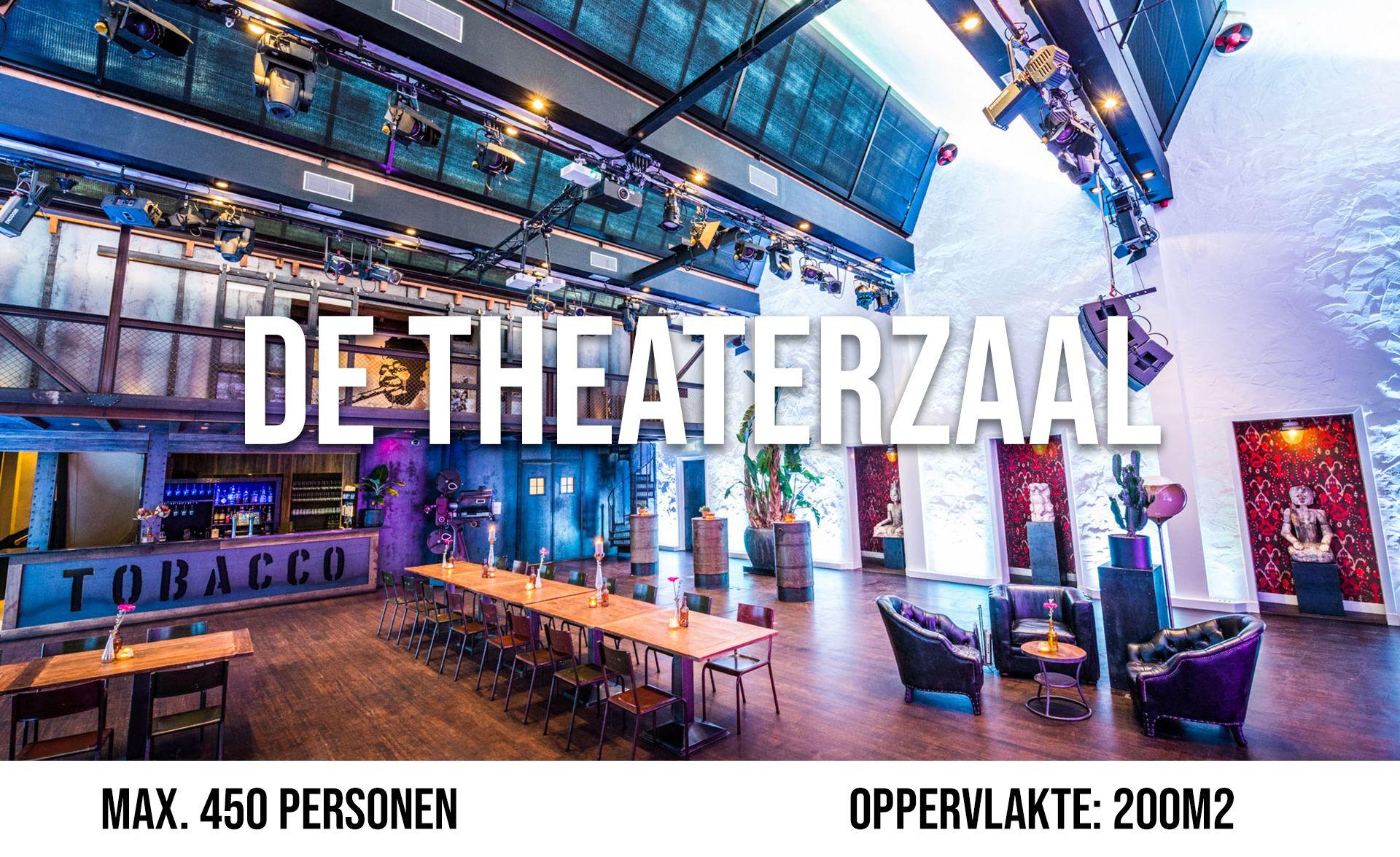 De Theaterzaal (maximaal 450 personen, oppervlakte 200 m²)